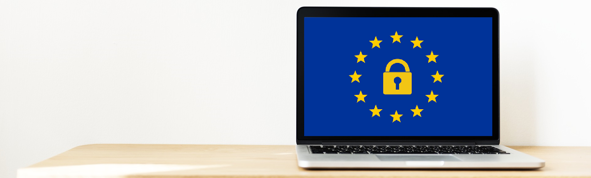 a laptop with a picture of the EU flag and lock on the screen