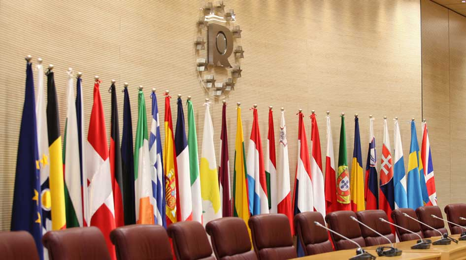 Meeting room with flags of the different countries of the European Union