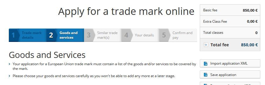 'Save' button in trade mark application