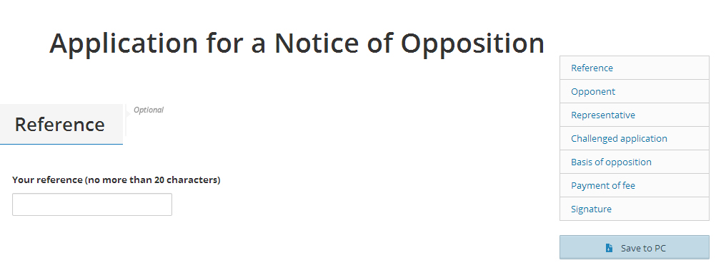 'Save' button in the application for a notice of opposition