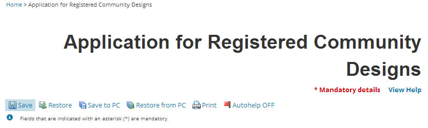 'Save' button in the registered Community design application
