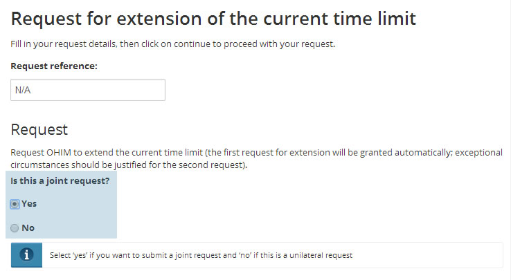 Request for extension of the current time limit
